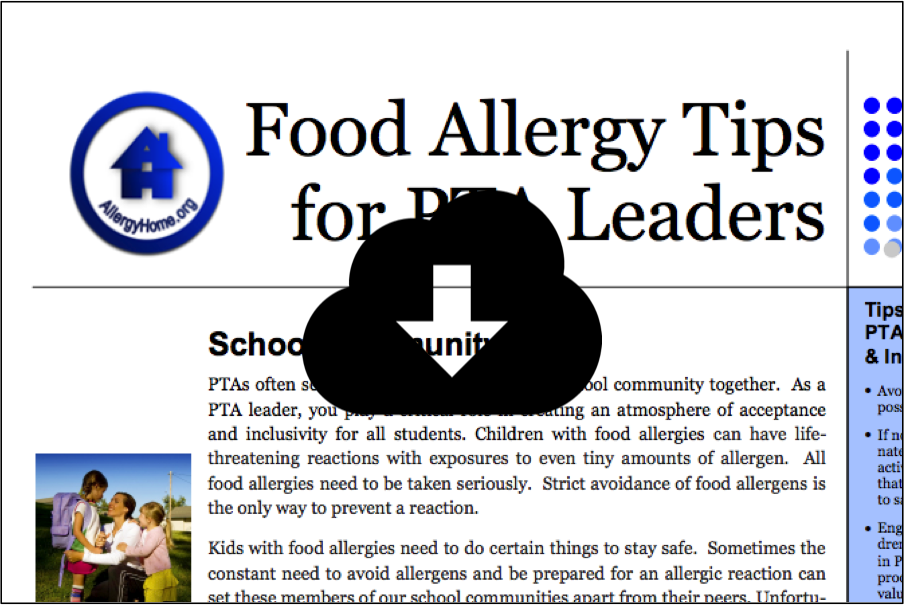 Food Allergy Tips for PTA Leaders