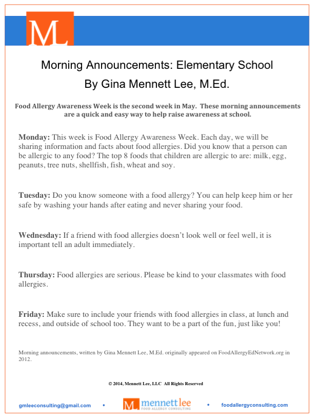 Morning School Announcement Elementary Schools
