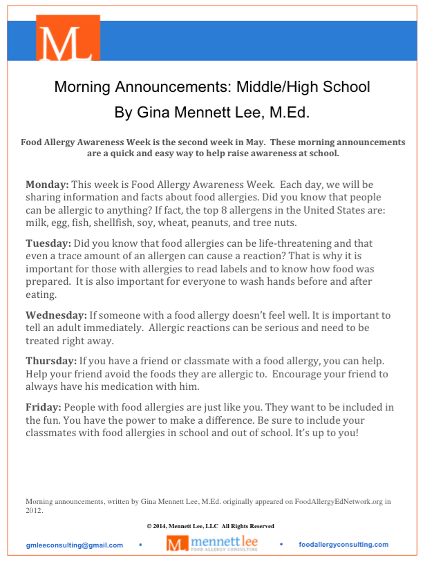 Morning School Announcement Middle School High School